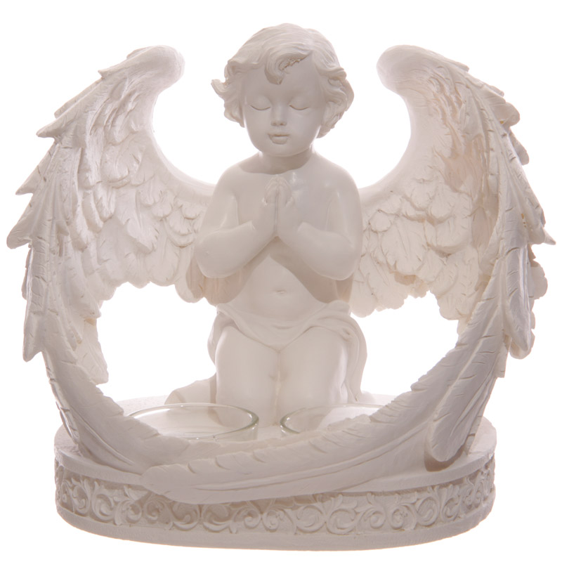 Decorative Cherub Figurine with Double Votive Candle