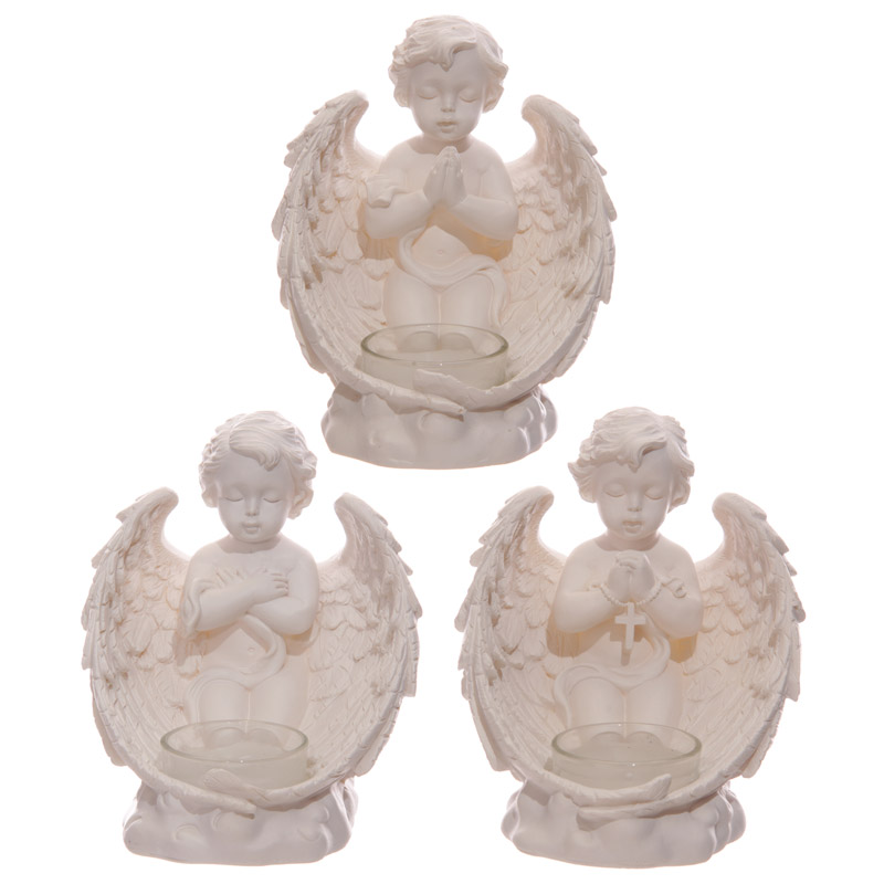 Decorative Cherub Figurine with Single Votive Candle