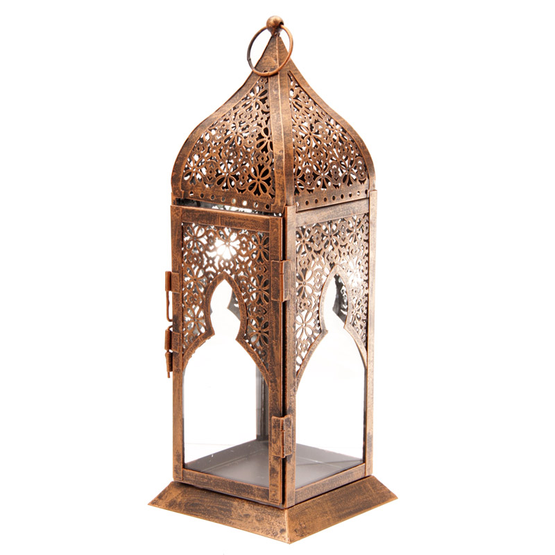 Clear Glass Bronze Effect Moroccan Style Fretwork Lantern