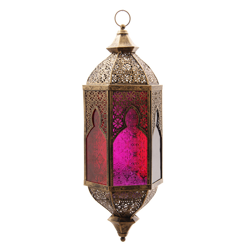 Bronze Effect Embossed Glass Moroccan Style Fretwork Lantern