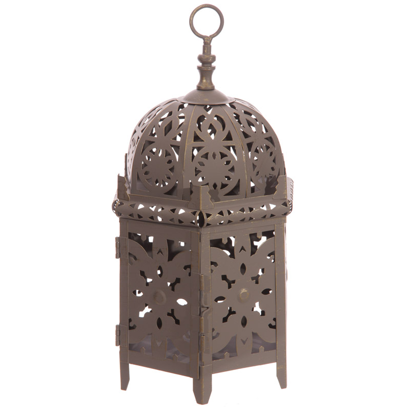 Grey Moroccan Style Lantern - Six Sided Domed Design