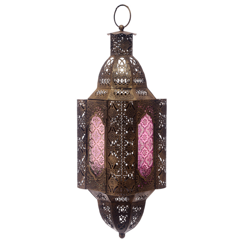 Gold Effect Intricate Glass Moroccan Style Fretwork Lantern