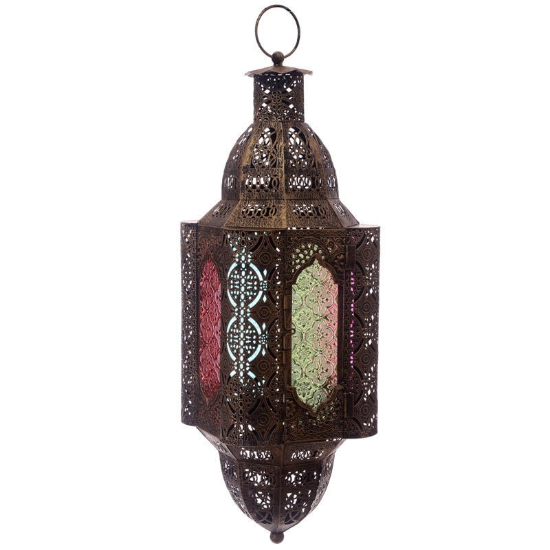 Gold Effect Intricate Glass Moroccan Style Hanging Lantern