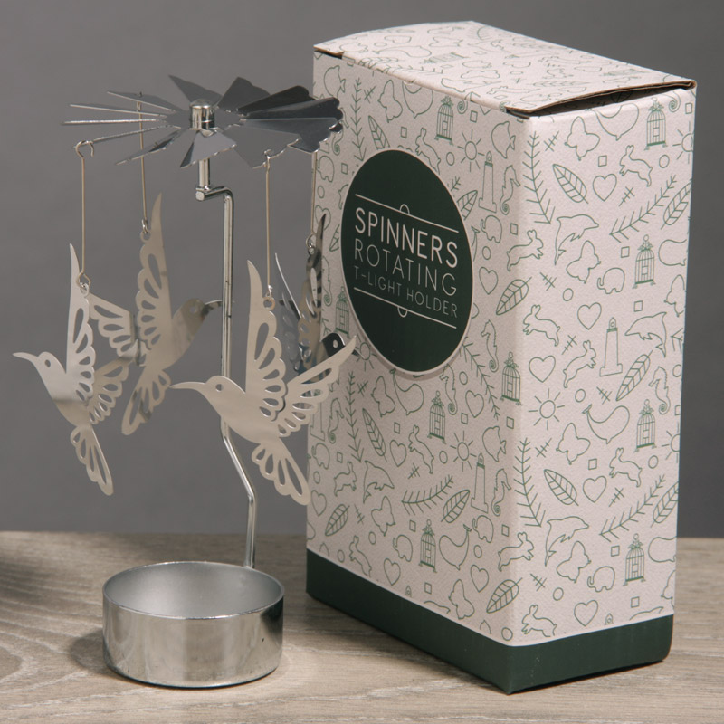 Hummingbird Design Metal Tealight Spinner