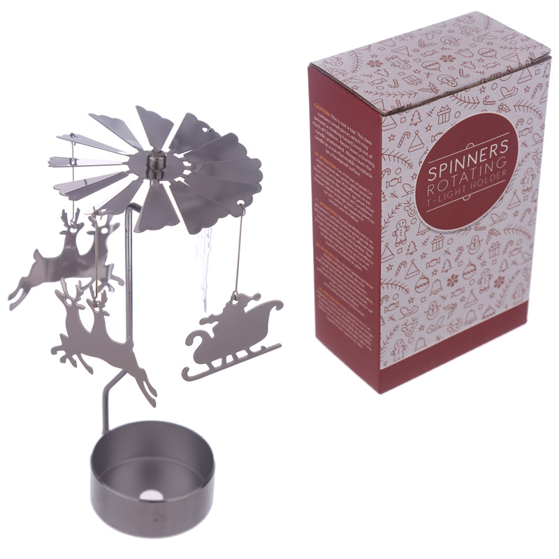 Reindeer & Santa Design Metal Tea Light Spinner